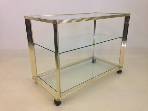 Gold lacquered brass trolley by Pierre Vandel
