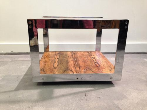 Chrome and rio rosewood table by Merrow Associates