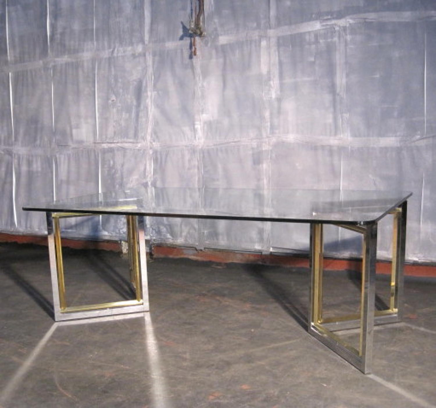 Brass, chrome and glass coffee table