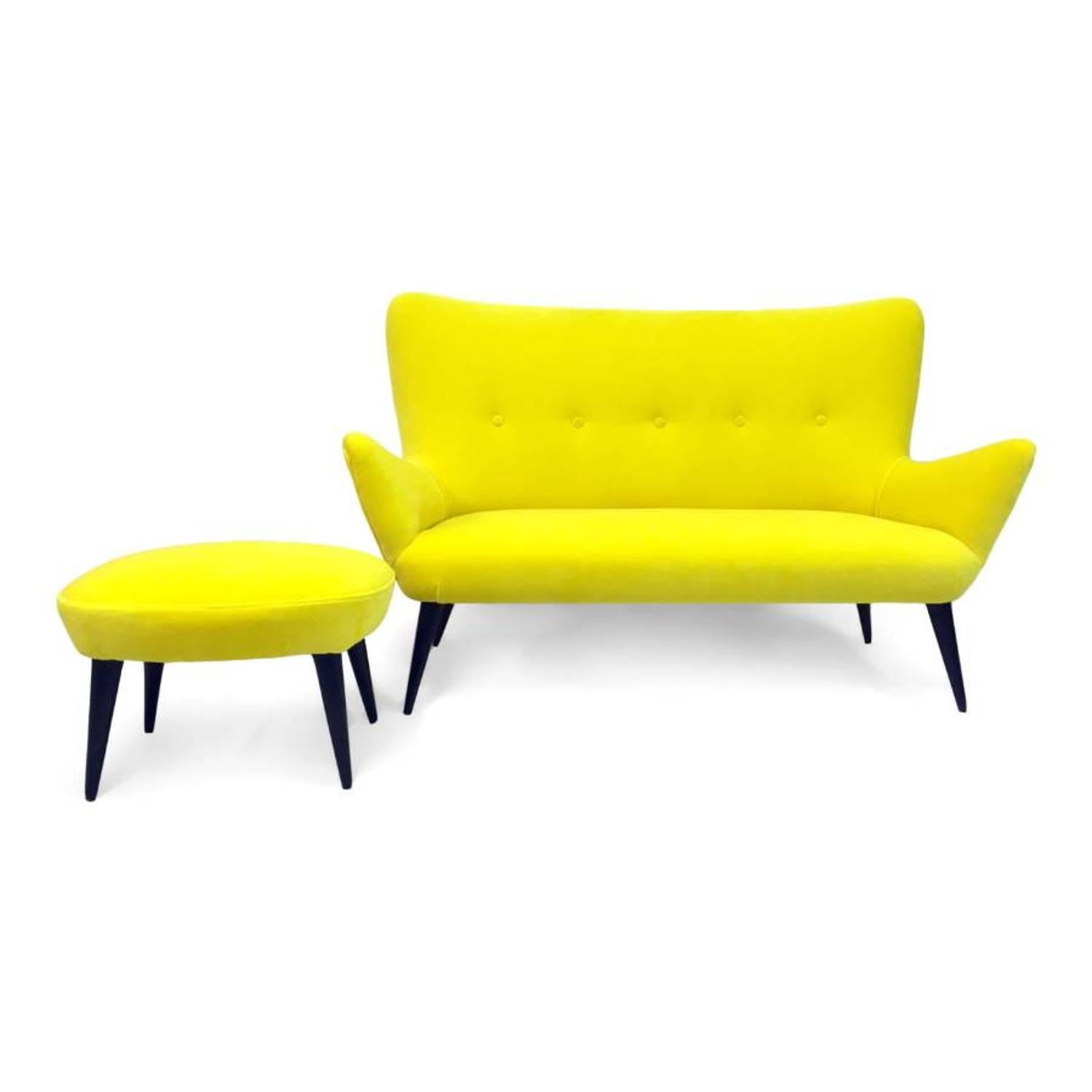 1950s Italian sofa and stool in yellow velvet