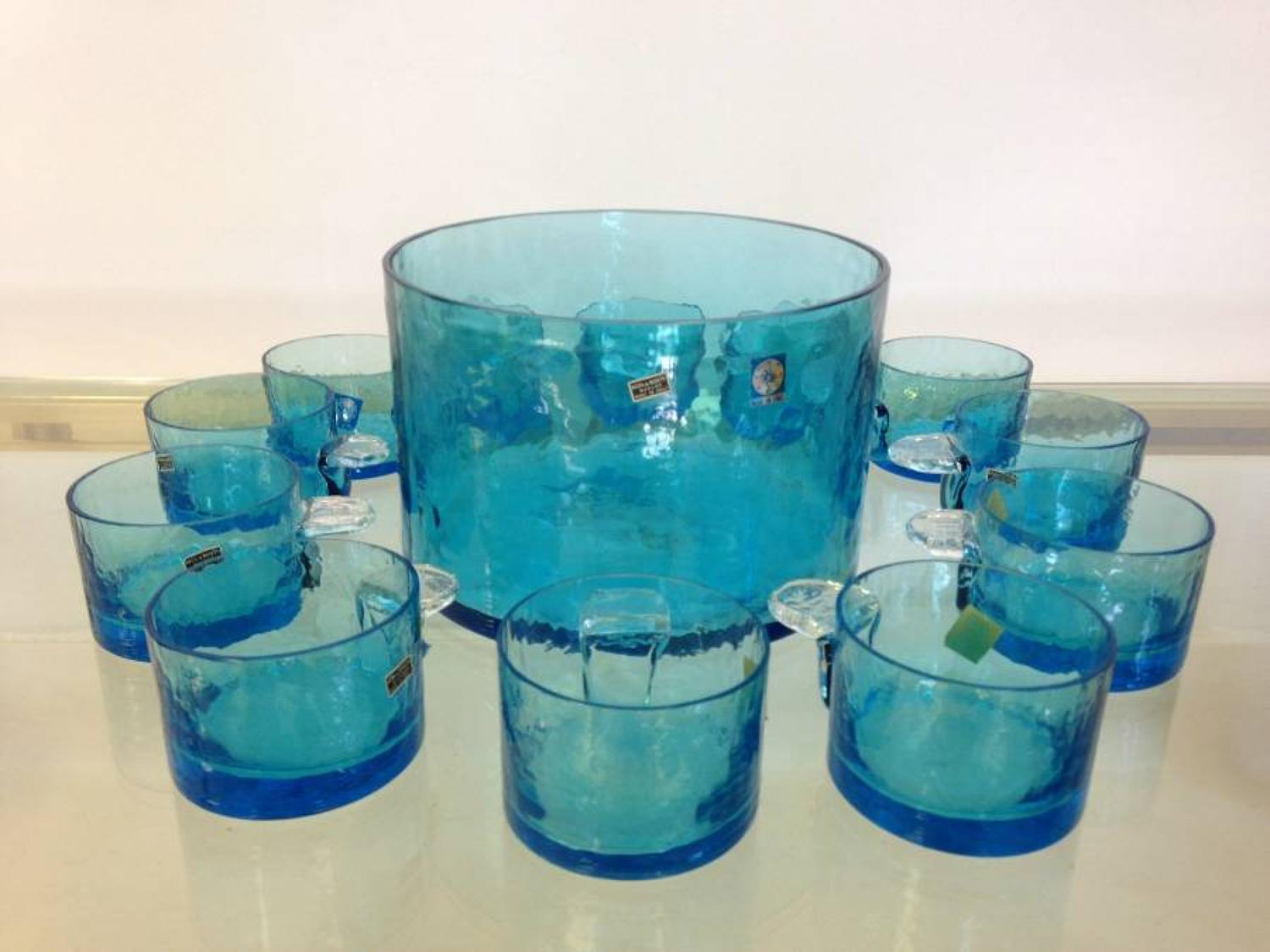 Murano punch bowl and glasses