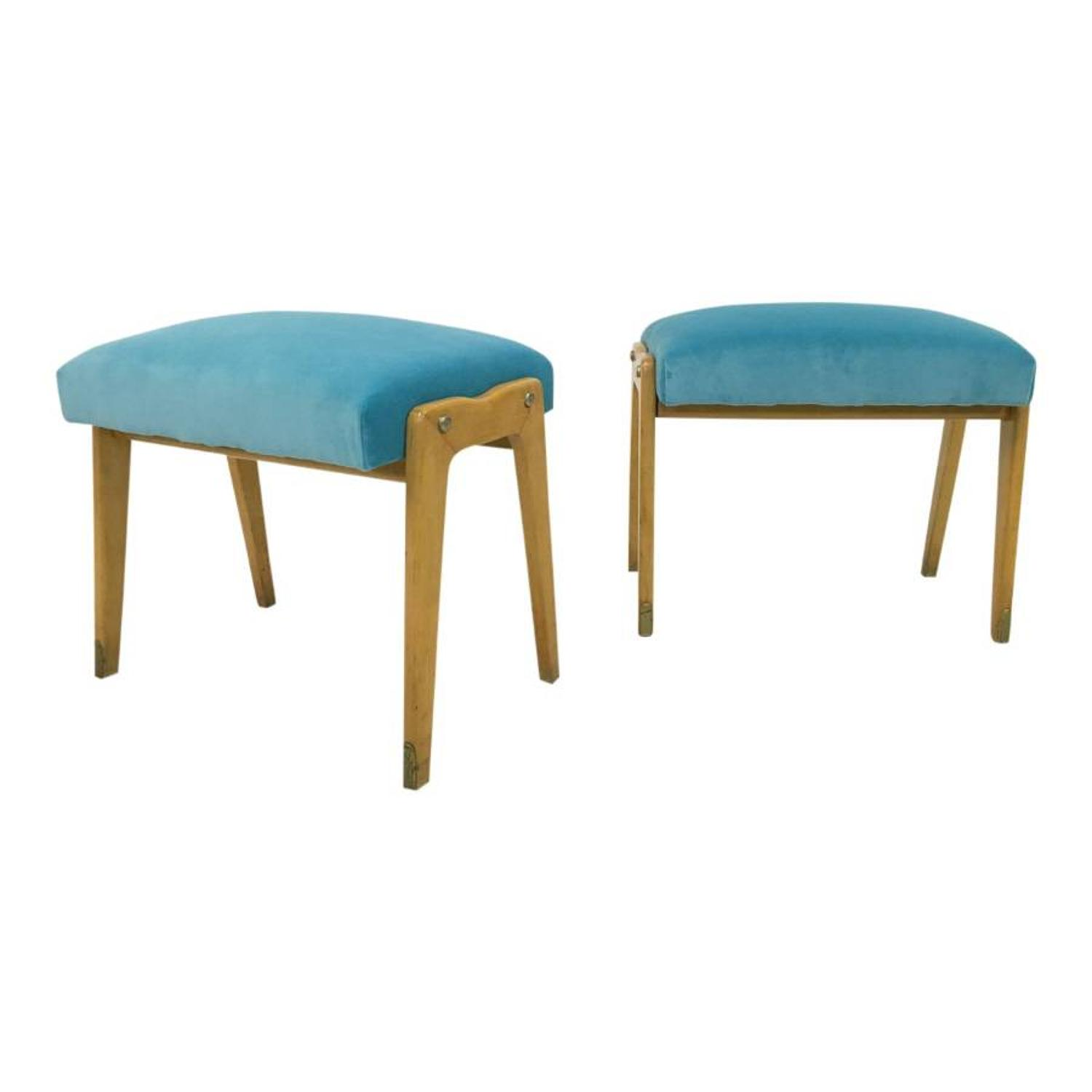 A pair of 1950s Italian stools in blue velvet