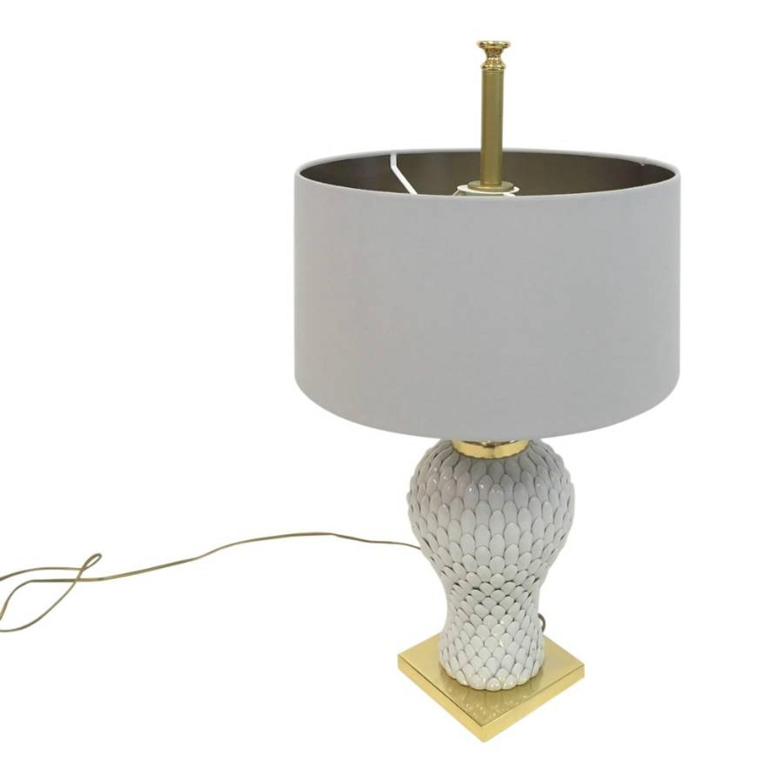 1970s Italian ceramic artichoke and brass lamp