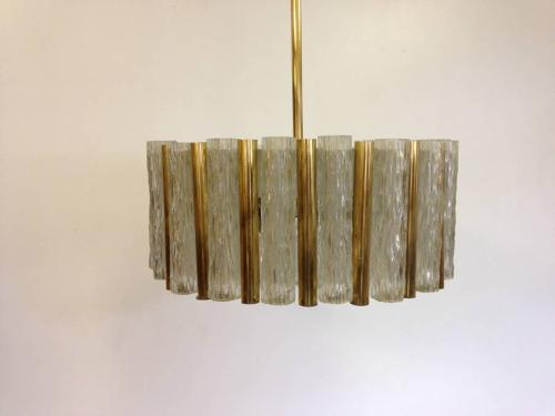 Brass and glass chandelier