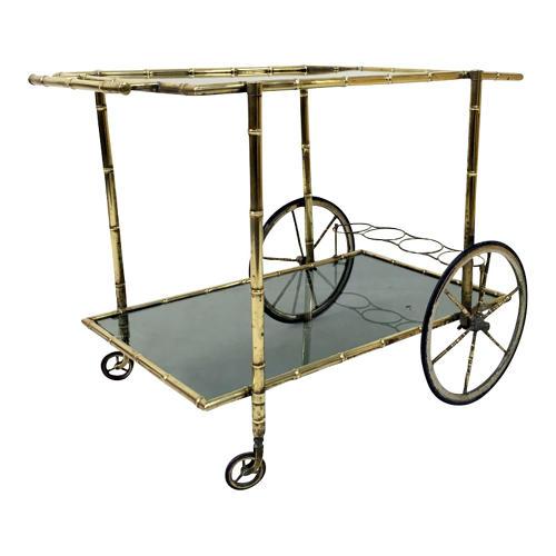 Brass bamboo drinks trolley or bar cart