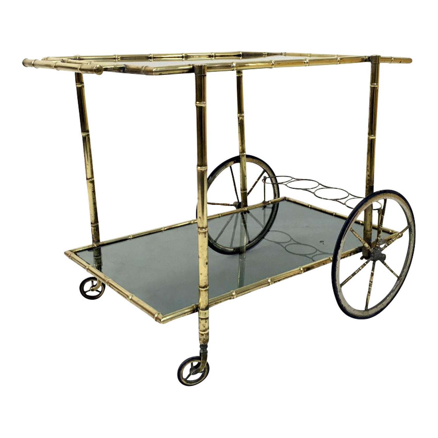 Brass bamboo drinks trolley or bar cart
