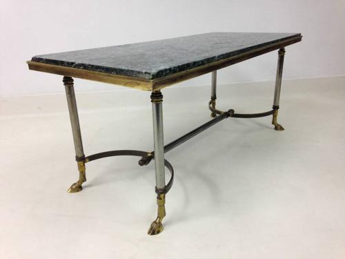 Marble, brass and chrome coffee table