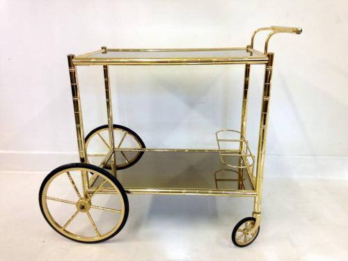 Brass faux bamboo drinks trolley