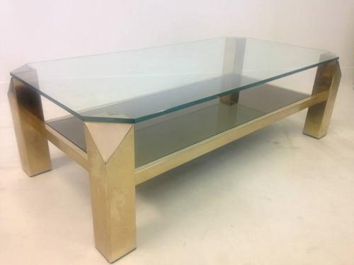 Two tier gold plated coffee table
