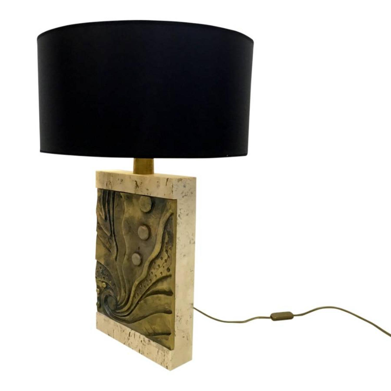 An Italian travertine and bronze table lamp