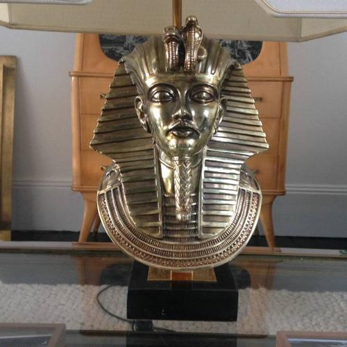 Brass and marble Pharaoh lamp