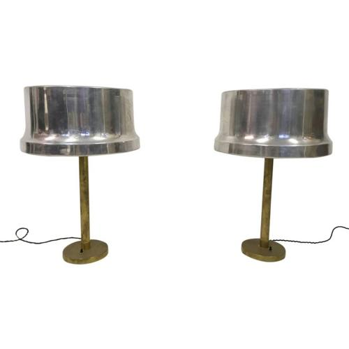A pair of 1960s brass and aluminium table lamps