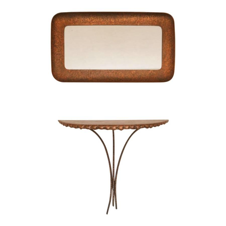 1950s Italian console table and mirror by Angelo Bragalini