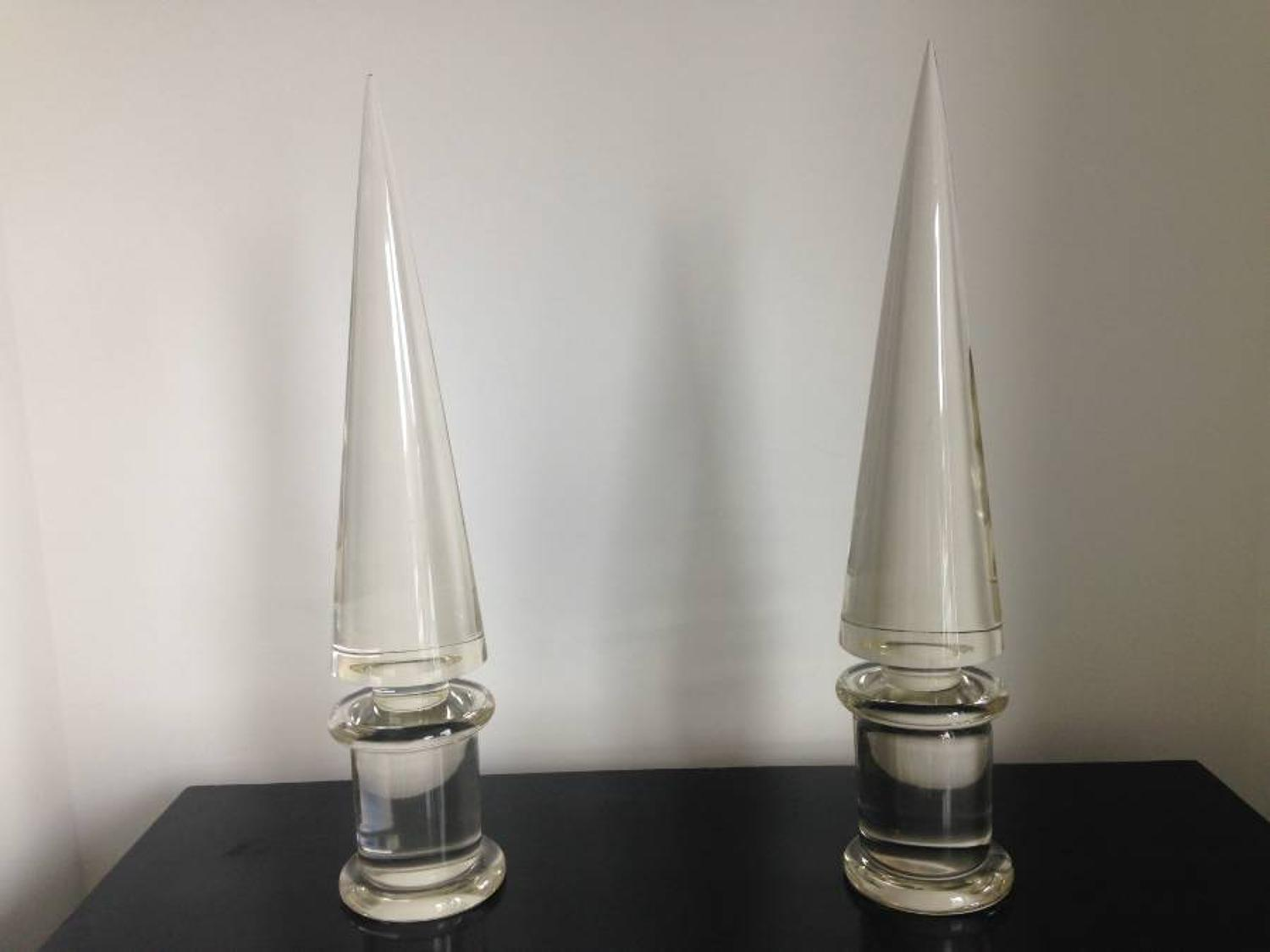 A pair of Murano glass obelisks by Seguso