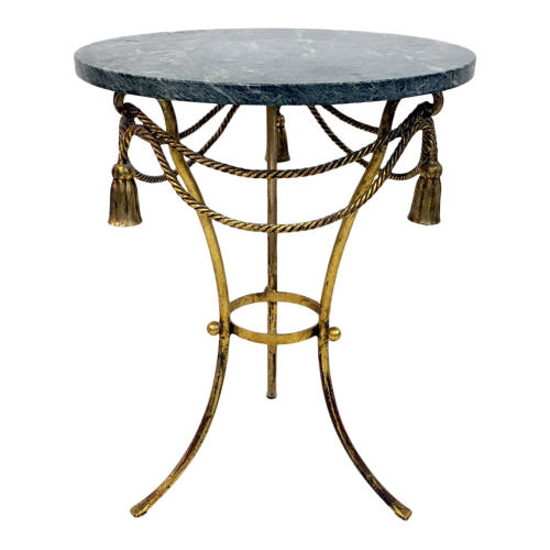 Italian gilt tassel and rope table with marble top