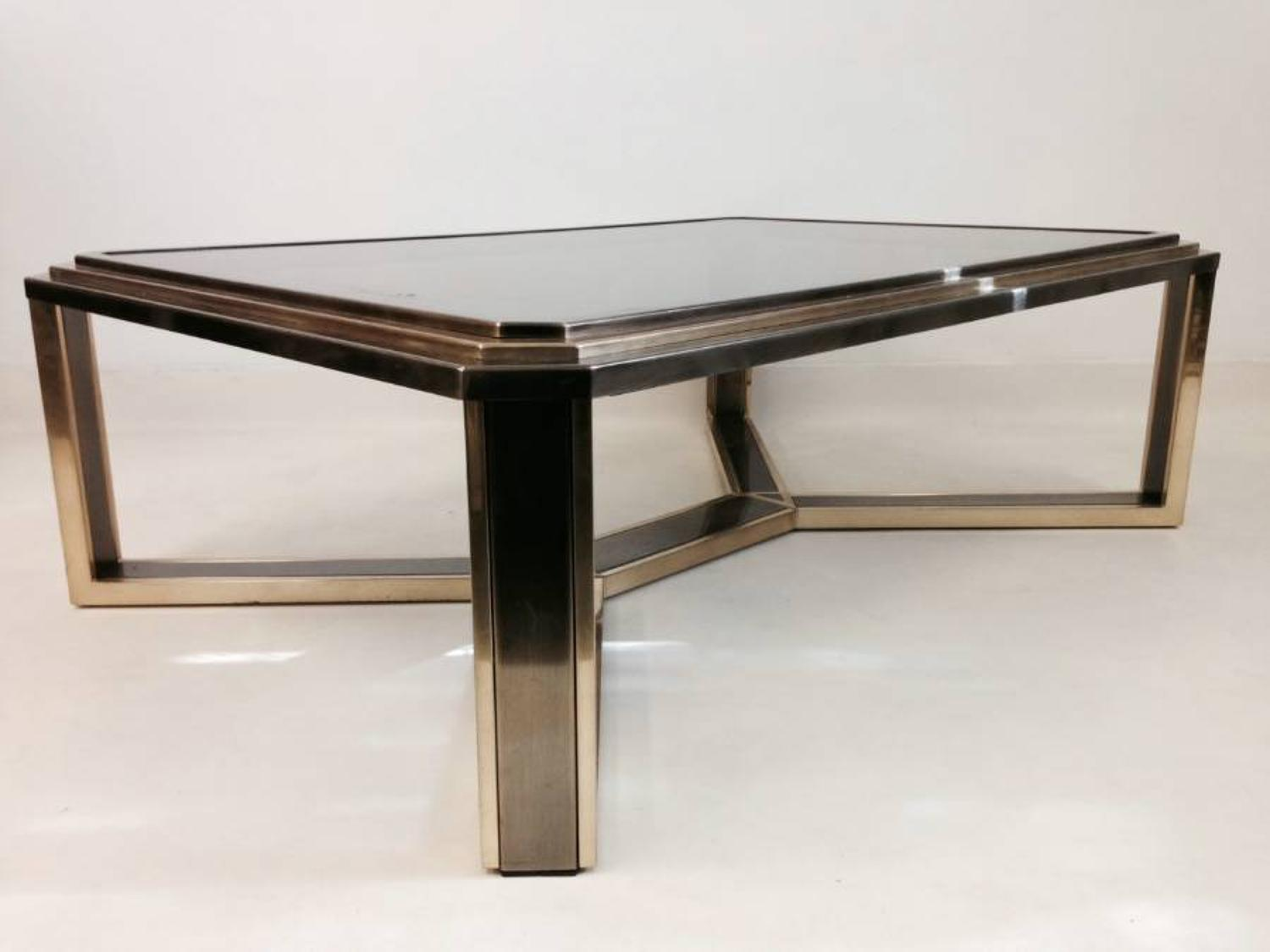 Brass and nickel-chrome coffee table