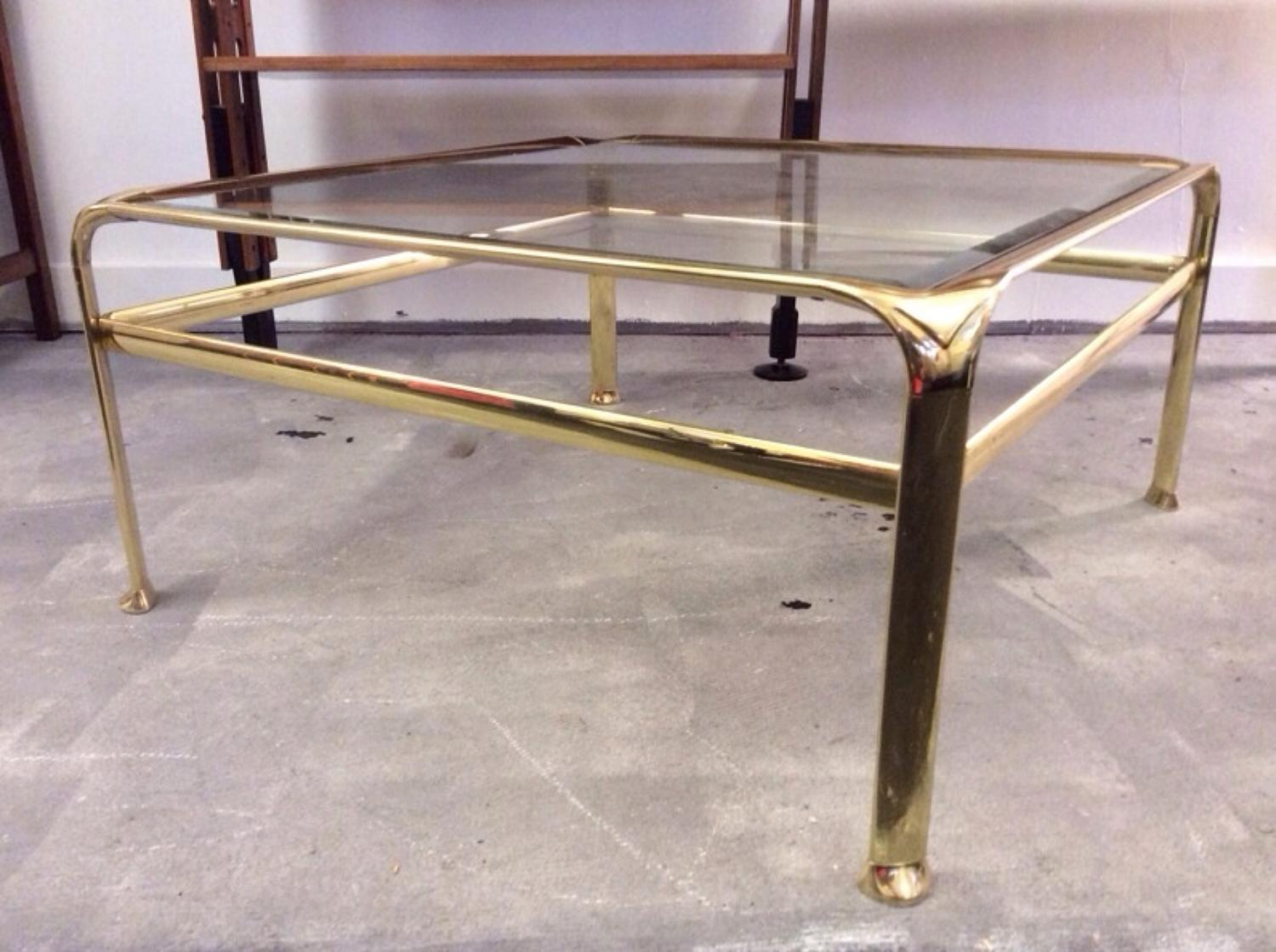 Square gilt metal and glass coffee table