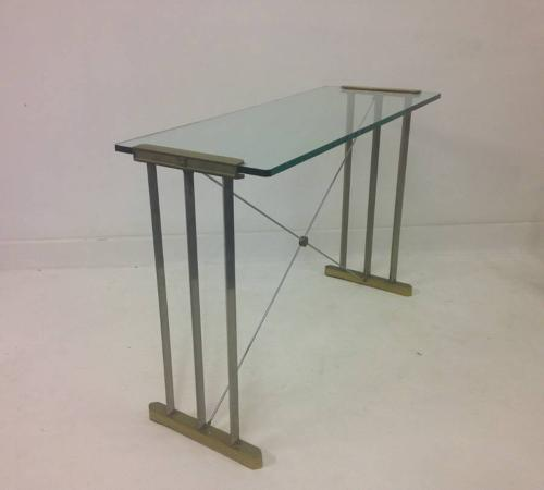 Brass and steel console table by Peter Ghyczy