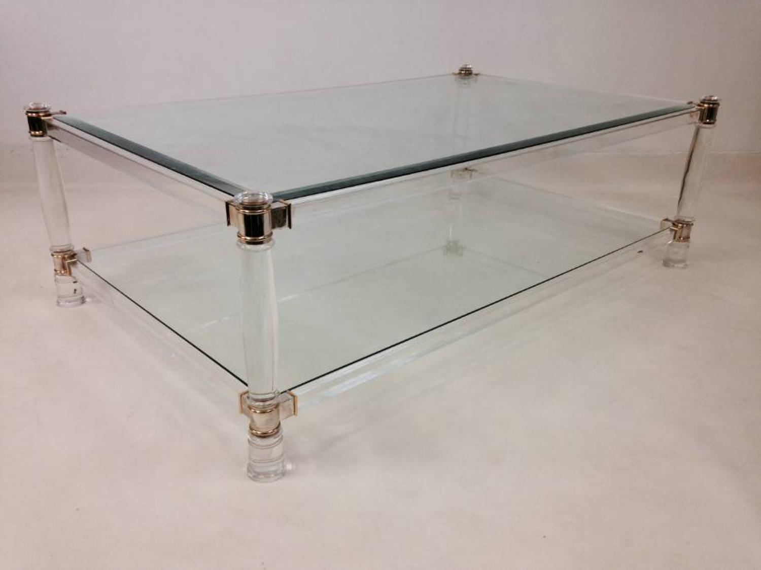 Lucite, brass and chrome coffee table
