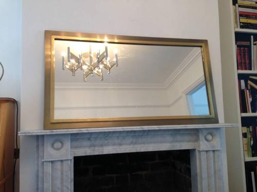 1970s gold metal and nickel mirror