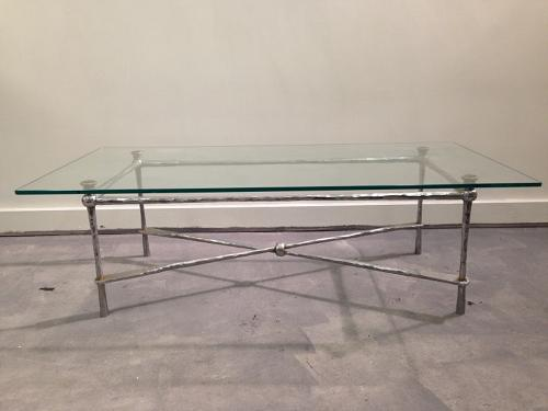 Italian hammered chrome and glass coffee table