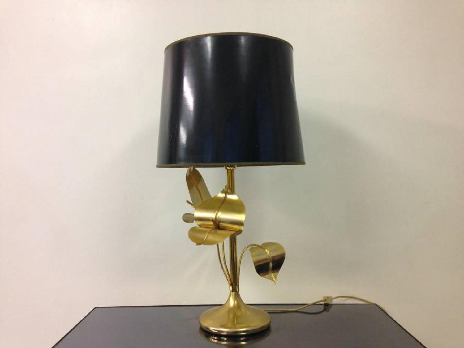 Gilt metal leaf lamp with black shade