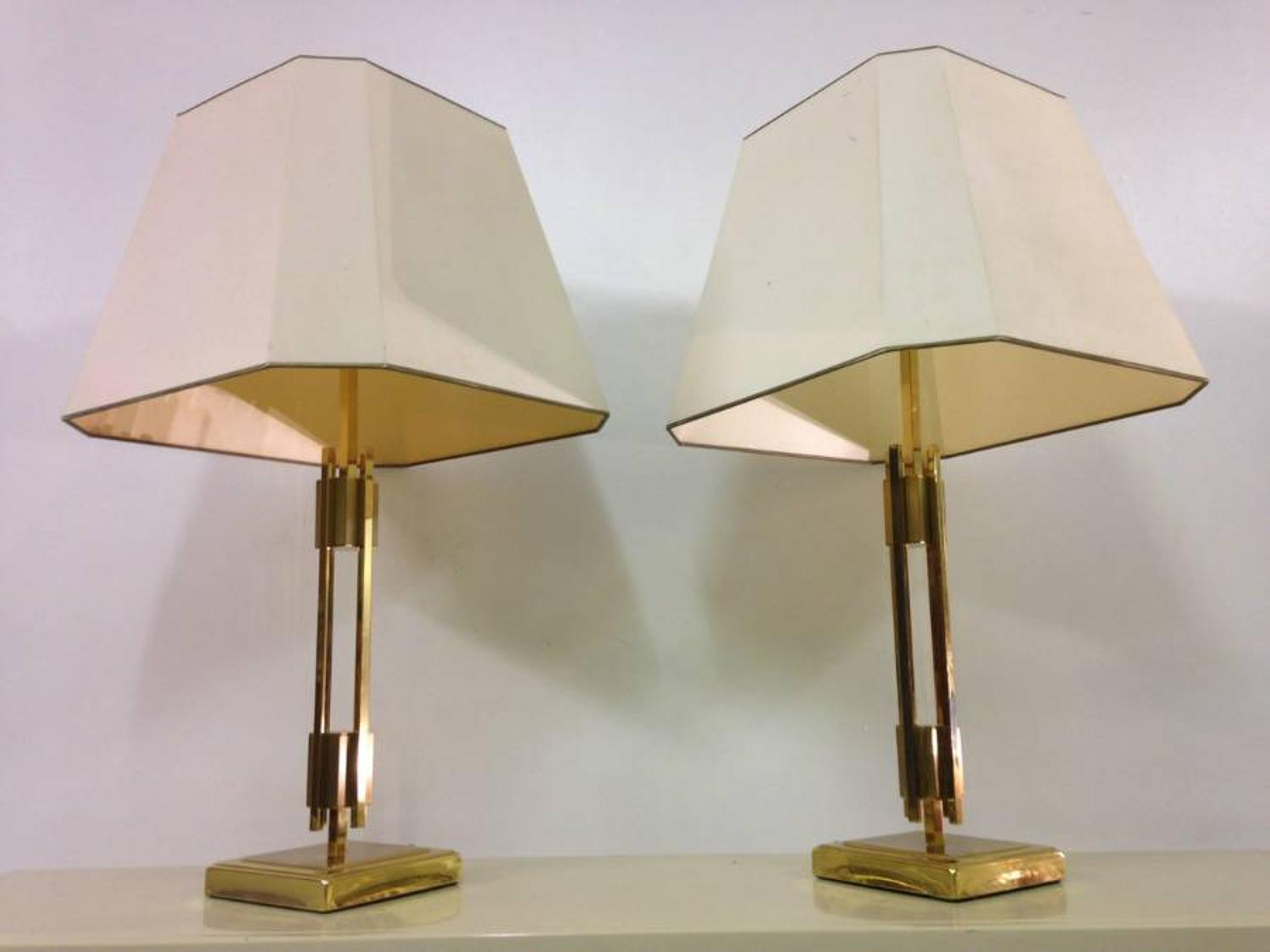 A pair of French brass table lamps