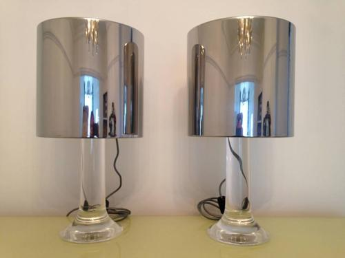 A pair of lucite table lamps by Guzzini