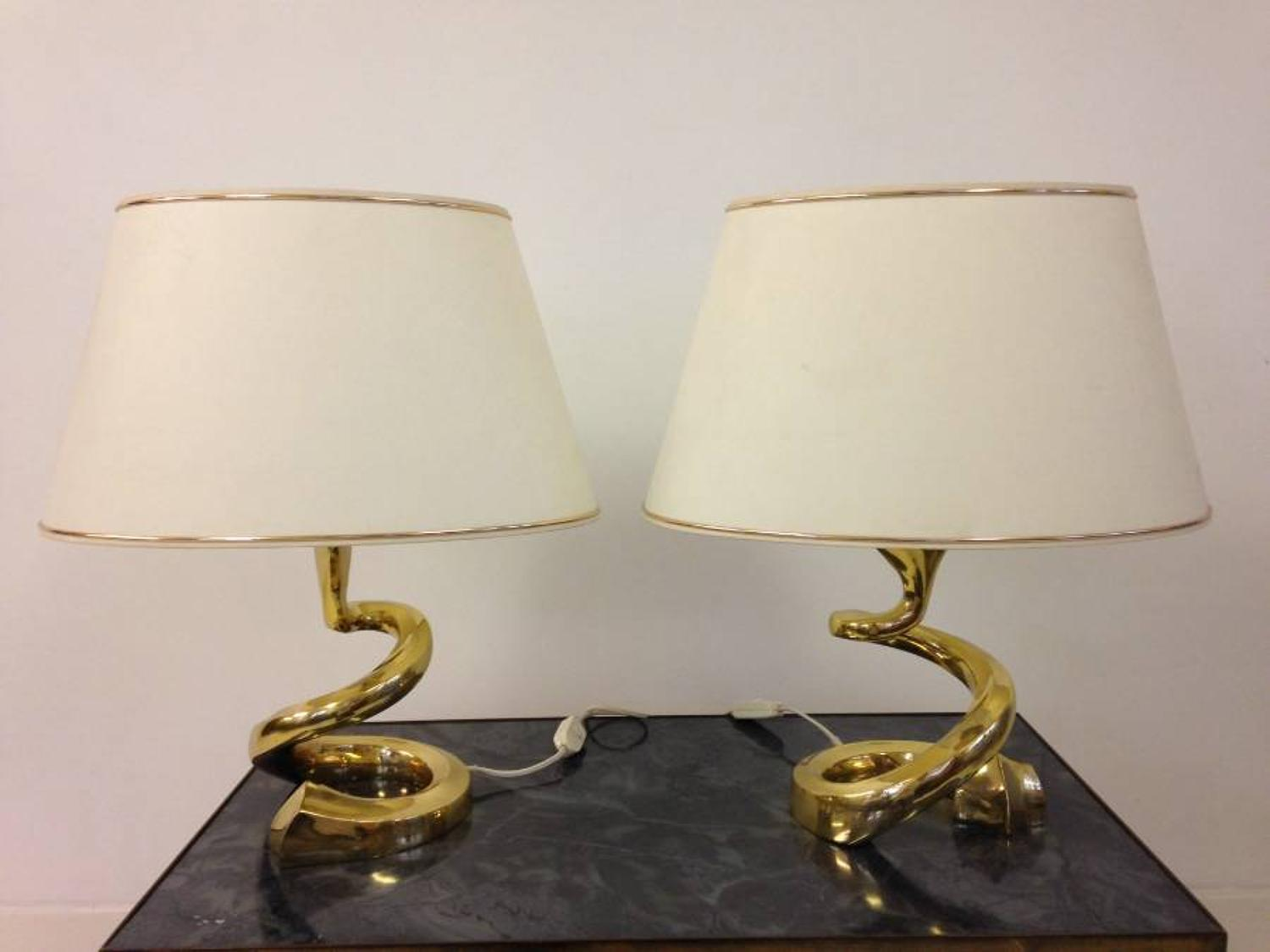 A pair of 1970s gilt brass lamps