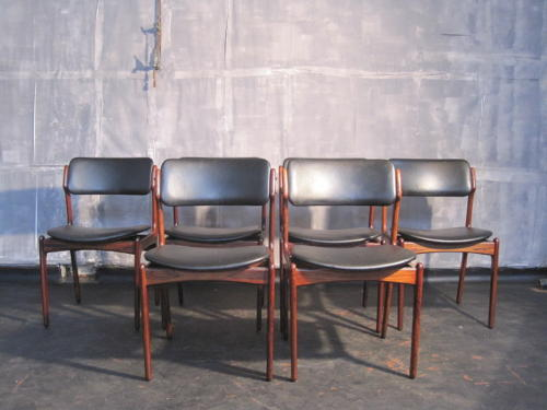 A set of six rosewood dinig chairs by Erik Buck