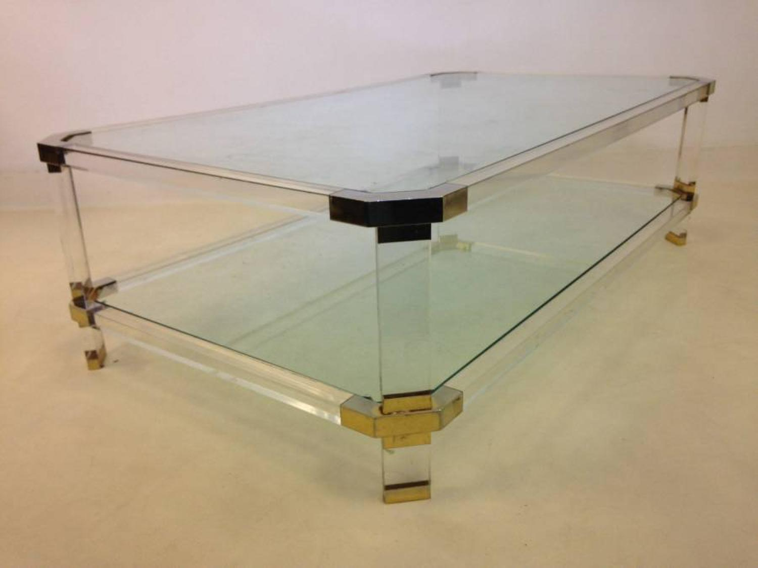 Lucite and gold lacquered coffee table