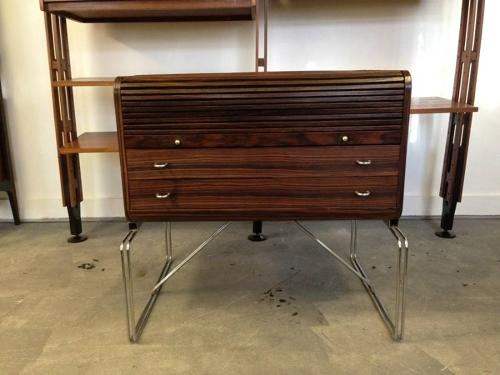 Rosewood and chrome side cabinet