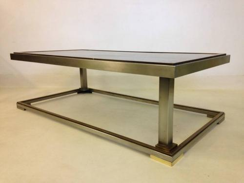 Chrome and brass coffee table