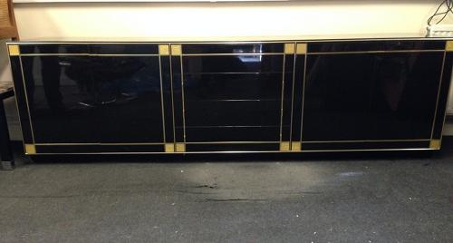 1970s French black lacquered and gilt sideboard
