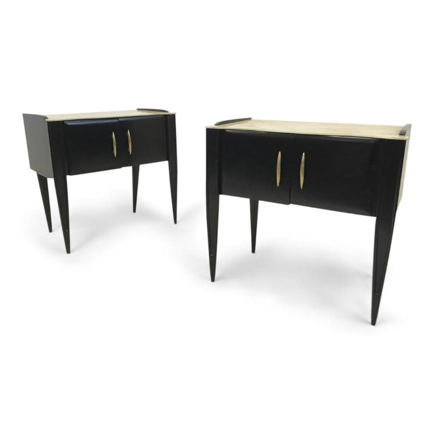 A pair of 1960s Italian ebonised bedside tables