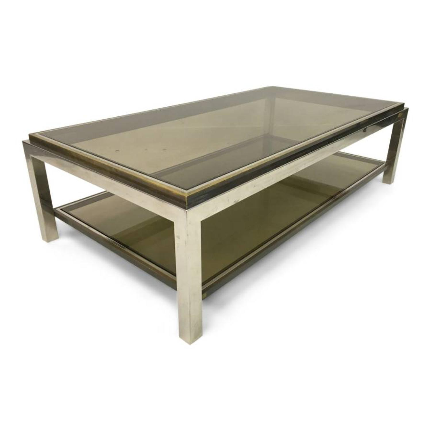 1970s chrome and brass coffee table by Jean Charles