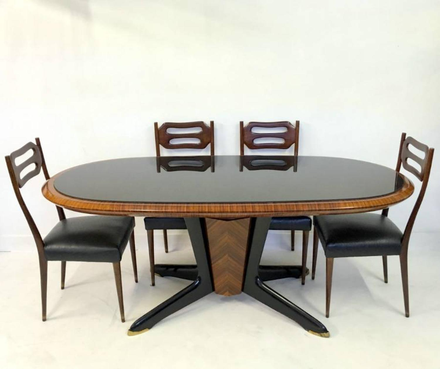 1950s Italian dining table and six chairs
