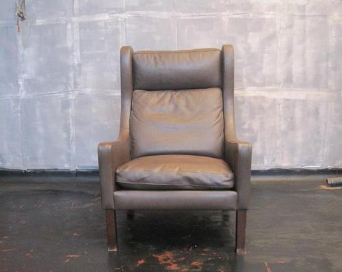 Danish brown leather armchair