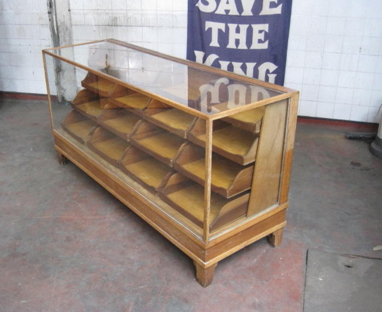 Mahogany and oak haberdashery counter