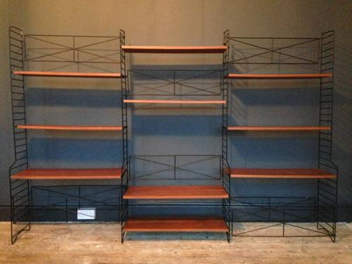 1960s Italian teak and metal wall unit