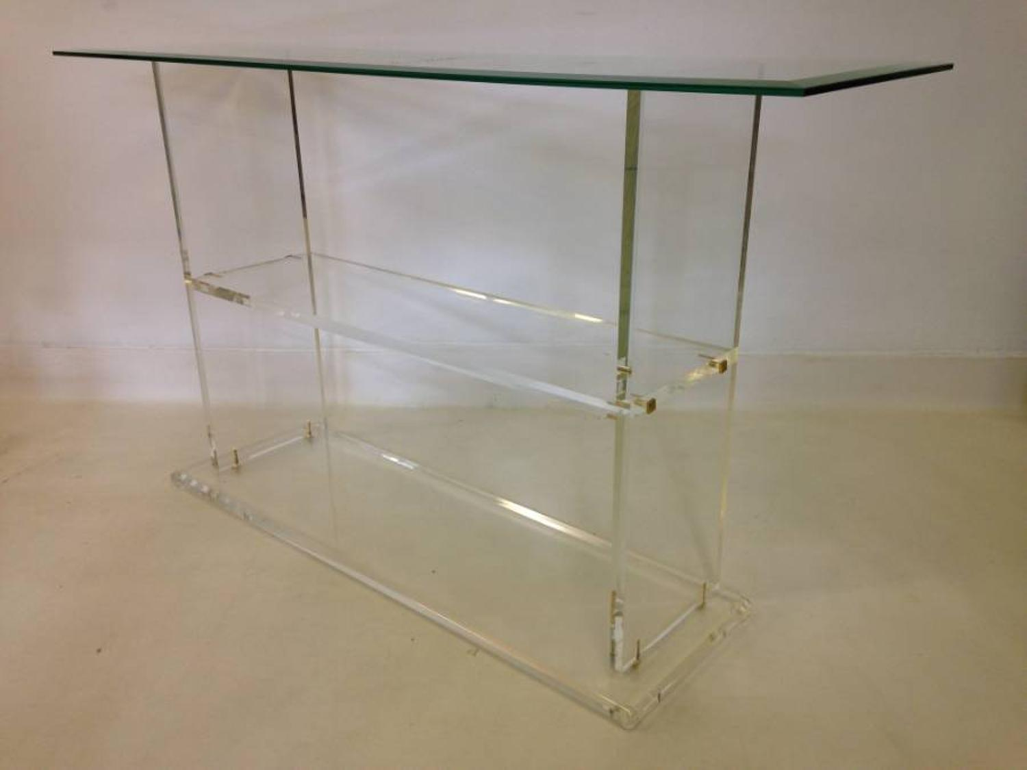 Lucite and glass console table with brass details