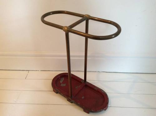 1950s brass and cast iron umbrella stand