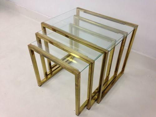 1970s lacquered brass nesting tables