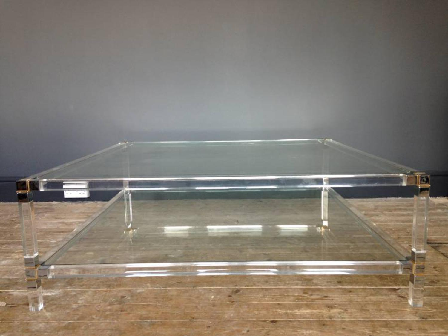 Large lucite, chrome and brass coffee table