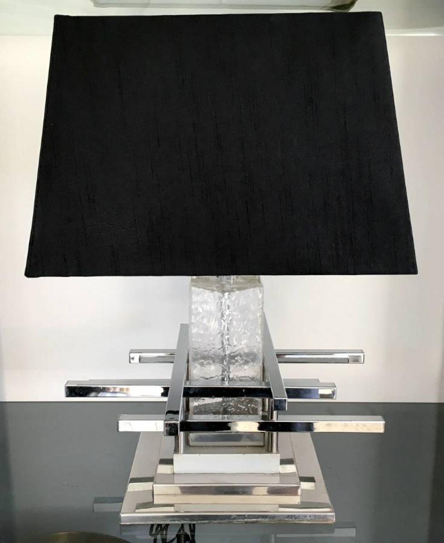 1970s Italian chrome and glass table lamp