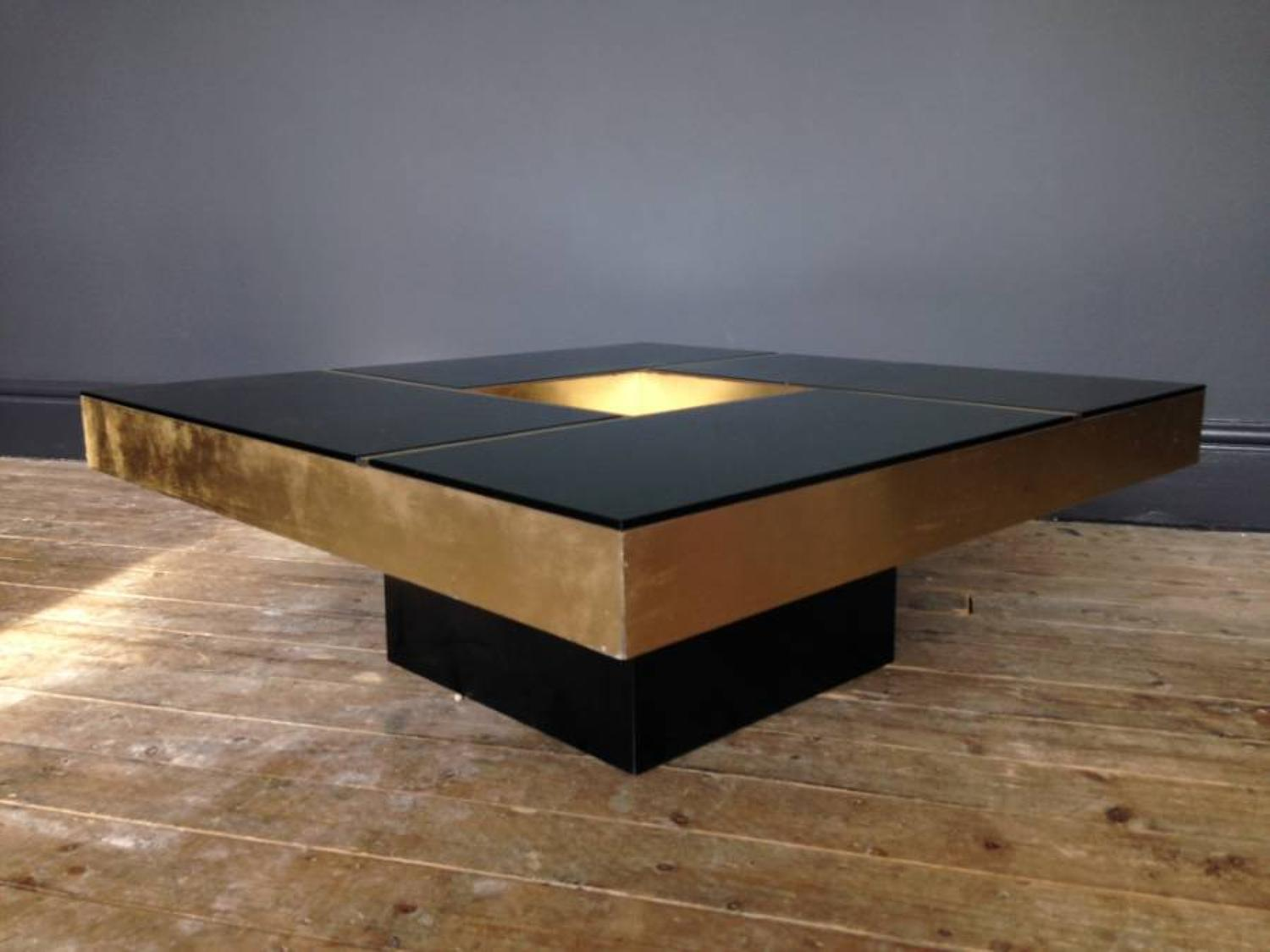 Brass and glass cocktail coffee table