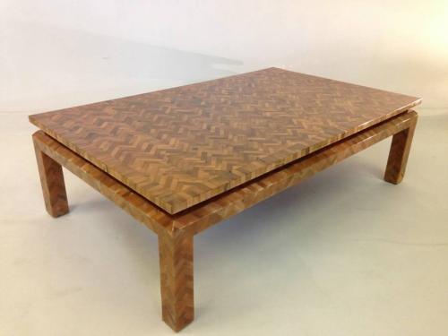 Simulated amber herringbone coffee table