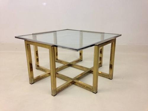 1970s brass and chrome coffee table