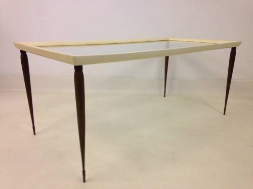 Goatskin and hardwood coffee table
