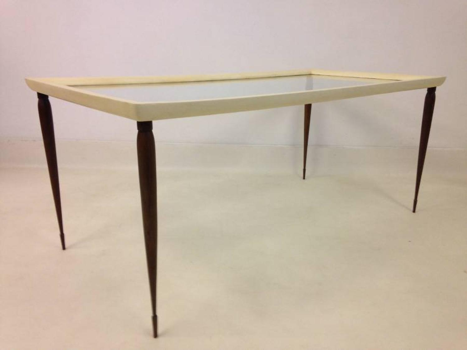 Goatskin and hardwood coffee table